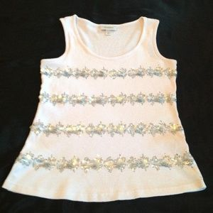 White Tank Top with Silver Sequin Rows in Front